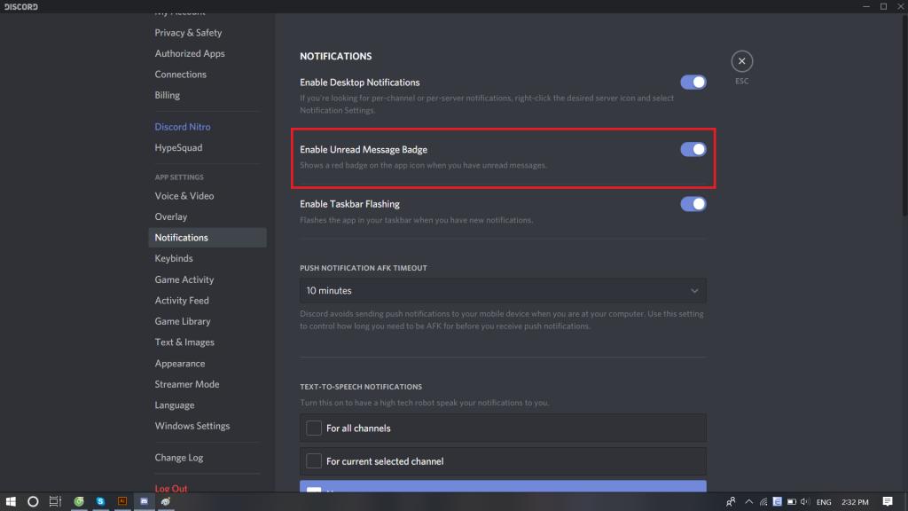 Enable unread message badge option